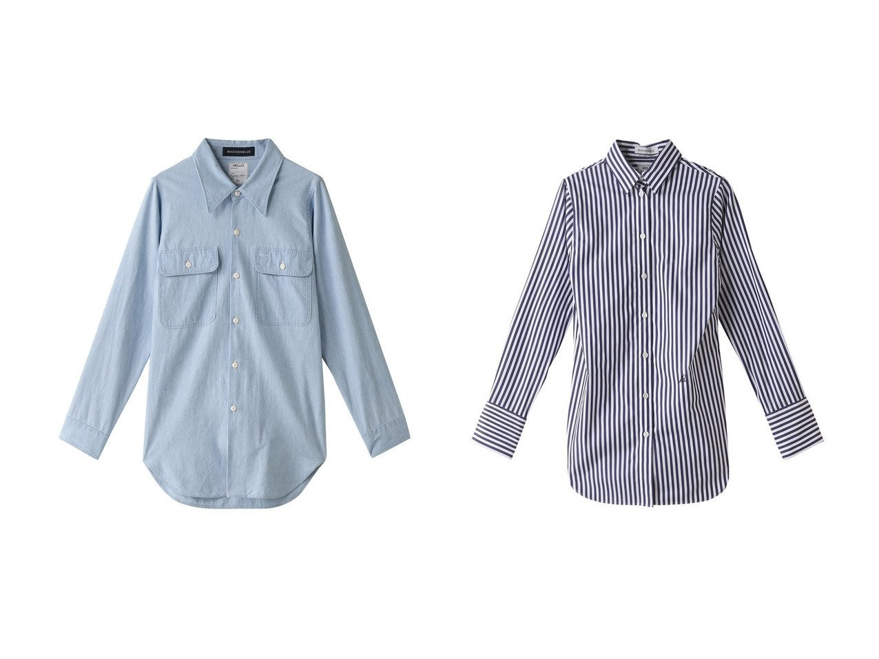 【MADISONBLUE/マディソンブルー】のMADAME コットンストライプシャツ&MADAME コットンシャンブレーワークシャツ(ヴィンテージウォッシュ) マディソンブルーのおすすめ!人気、トレンド・レディースファッションの通販 おすすめファッション通販アイテム インテリア・キッズ・メンズ・レディースファッション・服の通販 founy(ファニー)  ファッション Fashion レディースファッション WOMEN トップス カットソー Tops Tshirt シャツ/ブラウス Shirts Blouses 2021年 2021 2021 春夏 S/S SS Spring/Summer 2021 S/S 春夏 SS Spring/Summer カフス ストライプ スリーブ ロング 春 Spring ブルー系 Blue |ID:crp329100000020921