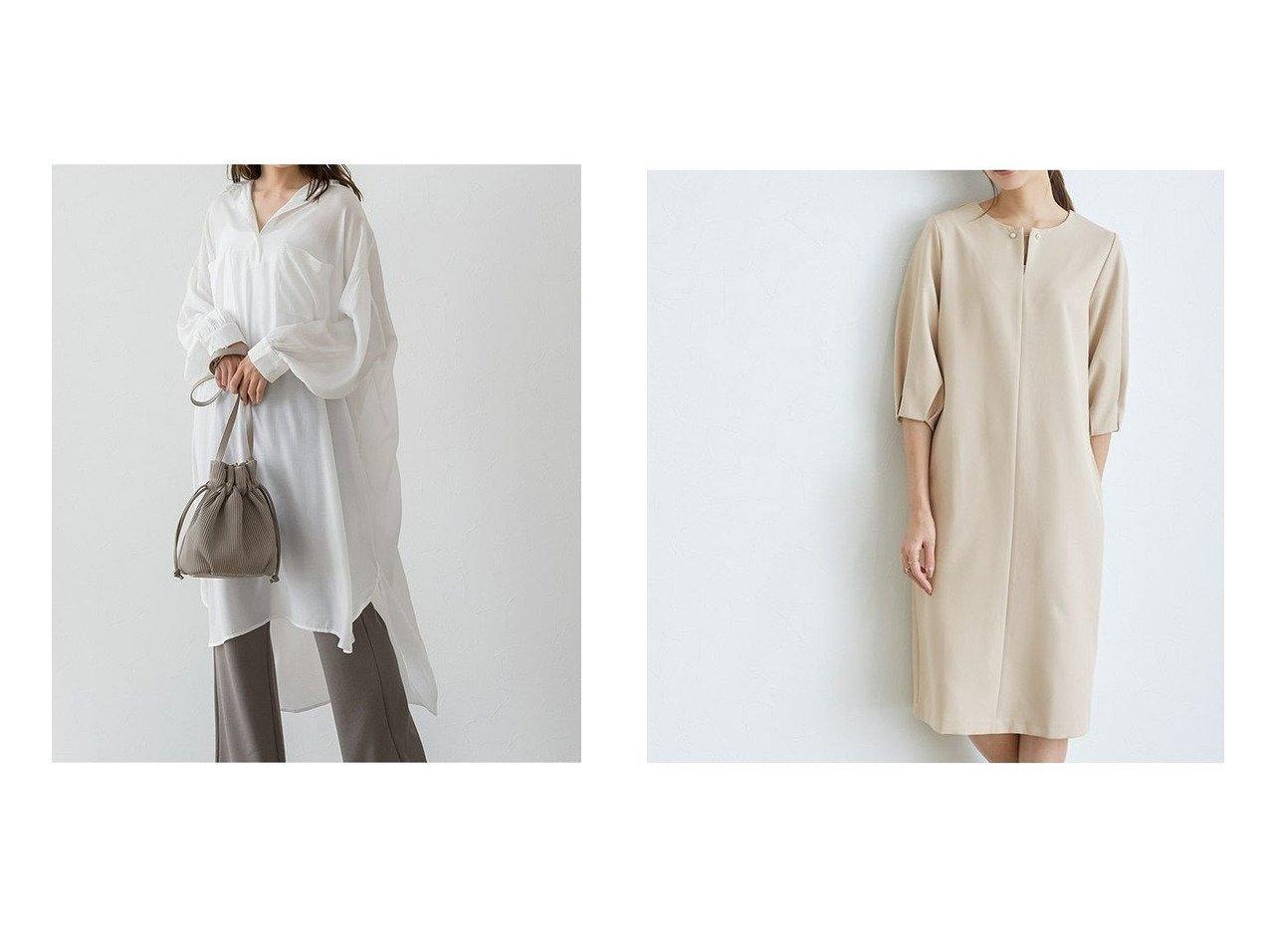【Pierrot/ピエロ】のヘンリーネックチュニックシャツワンピース MD&キーネックボリュームスリーブワンピース MD おすすめ!人気!プチプライスで上品なファッションアイテムの通販  おすすめで人気の流行・トレンド、ファッションの通販商品 メンズファッション・キッズファッション・インテリア・家具・レディースファッション・服の通販 founy(ファニー) https://founy.com/ ファッション Fashion レディースファッション WOMEN ワンピース Dress シャツワンピース Shirt Dresses チュニック Tunic トレンド プチプライス・低価格 Affordable  ID:crp329100000021280