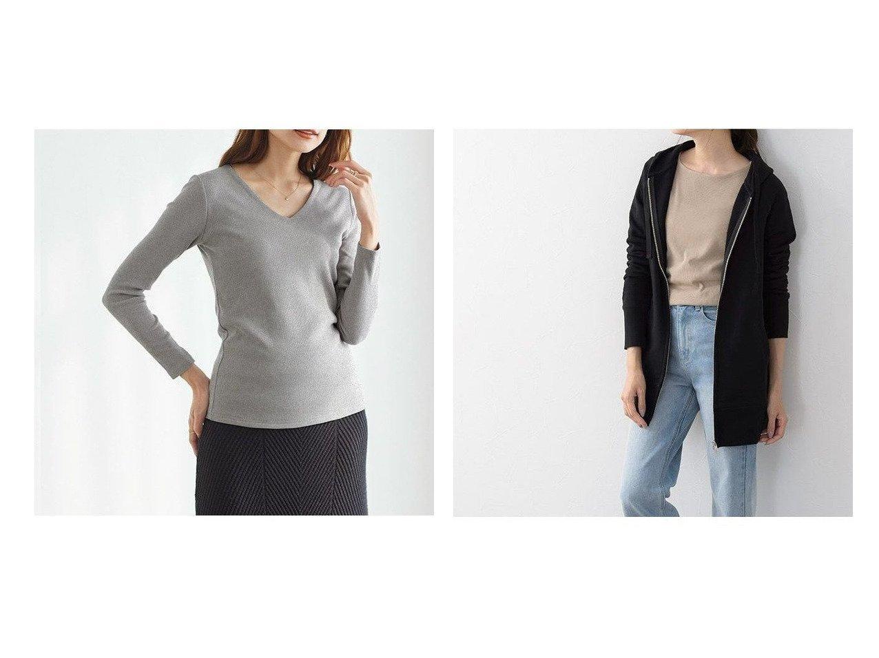 【Pierrot/ピエロ】の3ネックから選べる テレコリブカットソー MD2&スウェット素材Wジップロング丈パーカー おすすめ!人気!プチプライスで上品なファッションアイテムの通販  おすすめで人気の流行・トレンド、ファッションの通販商品 メンズファッション・キッズファッション・インテリア・家具・レディースファッション・服の通販 founy(ファニー) https://founy.com/ ファッション Fashion レディースファッション WOMEN トップス カットソー Tops Tshirt カットソー Cut and Sewn パーカ Sweats スウェット Sweat シンプル トレンド フィット プチプライス・低価格 Affordable ボーダー ラウンド 無地 吸水 スウェット スタイリッシュ ダウン パーカー ポケット ロング |ID:crp329100000021286