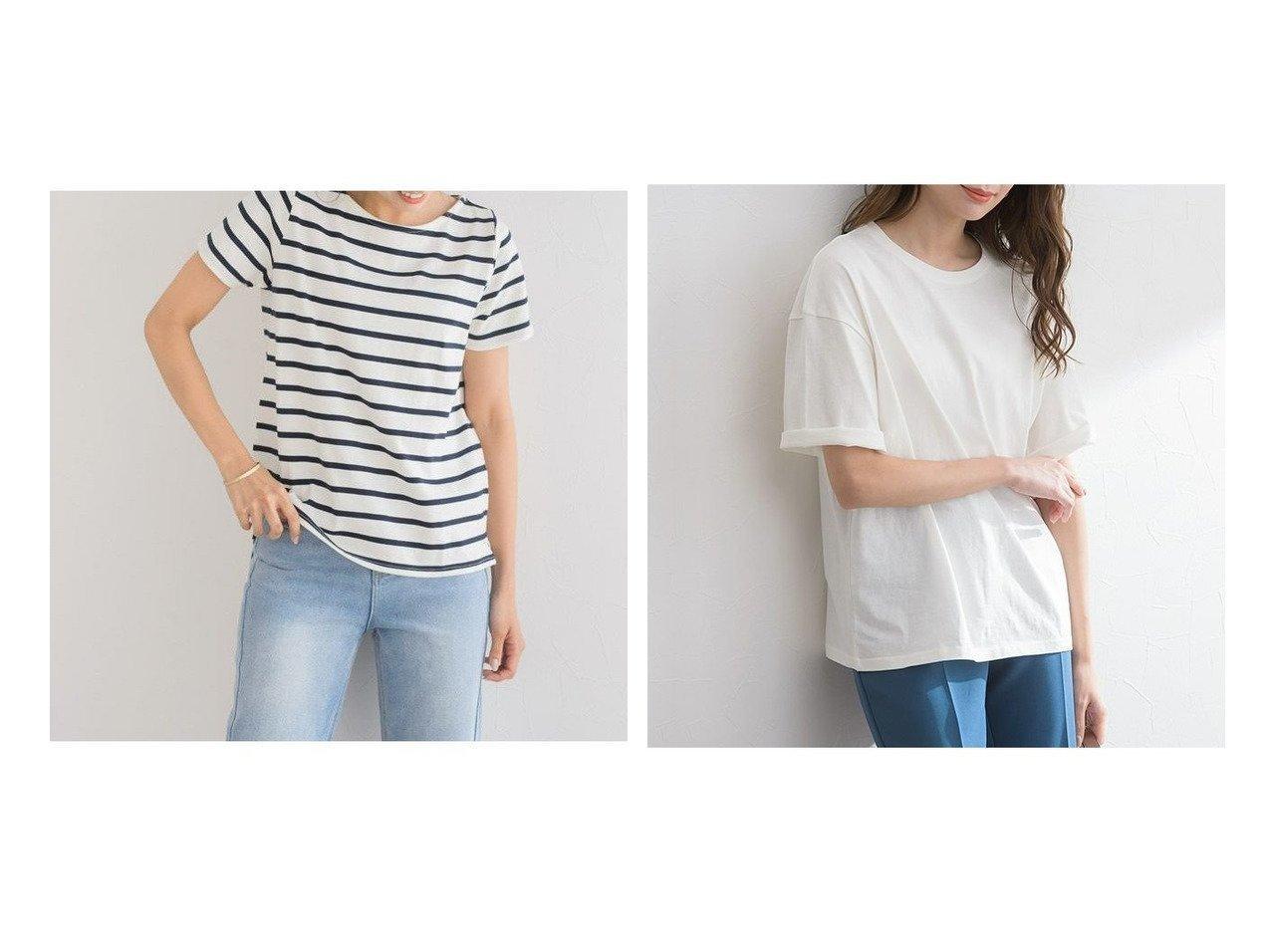 【Pierrot/ピエロ】の選べる地厚綿100%Tシャツ&クルーネックTシャツ おすすめ!人気!プチプライスで上品なファッションアイテムの通販  おすすめで人気の流行・トレンド、ファッションの通販商品 メンズファッション・キッズファッション・インテリア・家具・レディースファッション・服の通販 founy(ファニー) https://founy.com/ ファッション Fashion レディースファッション WOMEN トップス カットソー Tops Tshirt シャツ/ブラウス Shirts Blouses ロング / Tシャツ T-Shirts カットソー シンプル スリット ボーダー 無地 リラックス プチプライス・低価格 Affordable |ID:crp329100000021300