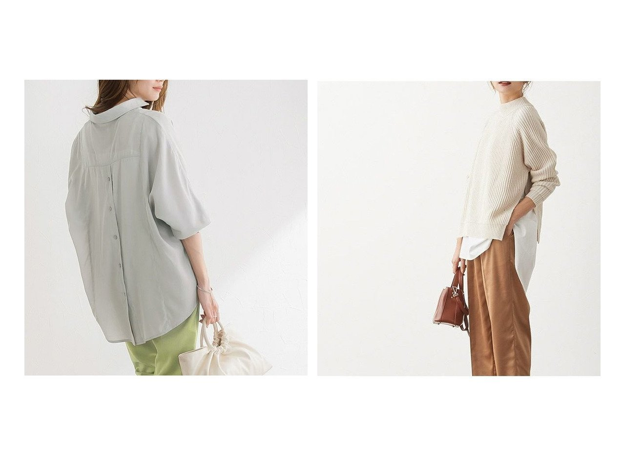【Pierrot/ピエロ】のバックボタンスキッパーシャツ&ドッキングシャツニット おすすめ!人気!プチプライスで上品なファッションアイテムの通販  おすすめで人気の流行・トレンド、ファッションの通販商品 メンズファッション・キッズファッション・インテリア・家具・レディースファッション・服の通販 founy(ファニー) https://founy.com/ ファッション Fashion レディースファッション WOMEN トップス カットソー Tops Tshirt シャツ/ブラウス Shirts Blouses ニット Knit Tops プチプライス・低価格 Affordable スリット ハイネック ボトム |ID:crp329100000021312
