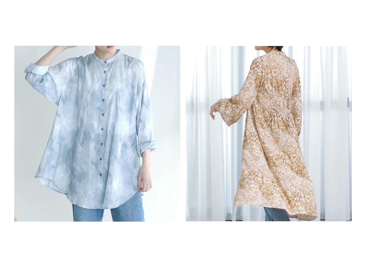 【Bou Jeloud/ブージュルード】のタイダイぼかし柄バックタックブラウス&フローラルバックシャーリングワンピース おすすめ!人気!プチプライスで上品なファッションアイテムの通販  おすすめで人気の流行・トレンド、ファッションの通販商品 メンズファッション・キッズファッション・インテリア・家具・レディースファッション・服の通販 founy(ファニー) https://founy.com/ ファッション Fashion レディースファッション WOMEN トップス カットソー Tops Tshirt シャツ/ブラウス Shirts Blouses バッグ Bag ワンピース Dress S/S 春夏 SS Spring/Summer おすすめ Recommend スリット タートルネック ダブル プチプライス・低価格 Affordable ボトム ワイド 今季 春 Spring 羽織 カーディガン シャーリング デニム ペチコート |ID:crp329100000021361