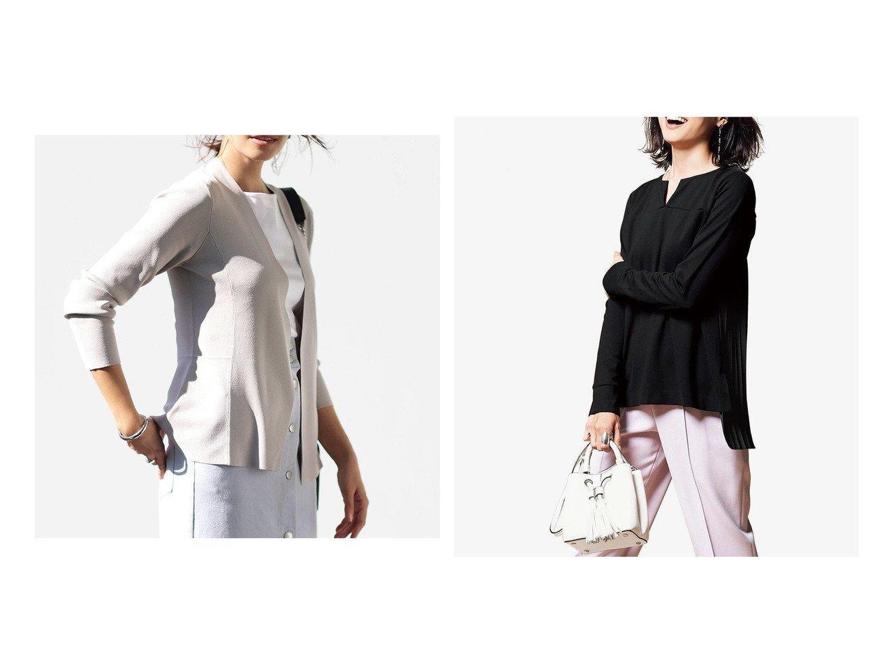 【DoCLASSE/ドゥクラッセ】の総針編み・着流しペプラムカーディガン&ストレッチポンチ・バックプリーツトップス ドゥクラッセの40代、50代の方におすすめ!人気トレンド・ファッションの通販 おすすめで人気の流行・トレンド、ファッションの通販商品 メンズファッション・キッズファッション・インテリア・家具・レディースファッション・服の通販 founy(ファニー) https://founy.com/ ファッション Fashion レディースファッション WOMEN トップス カットソー Tops Tshirt カーディガン Cardigans カーディガン ペプラム フェミニン プリーツ |ID:crp329100000021618