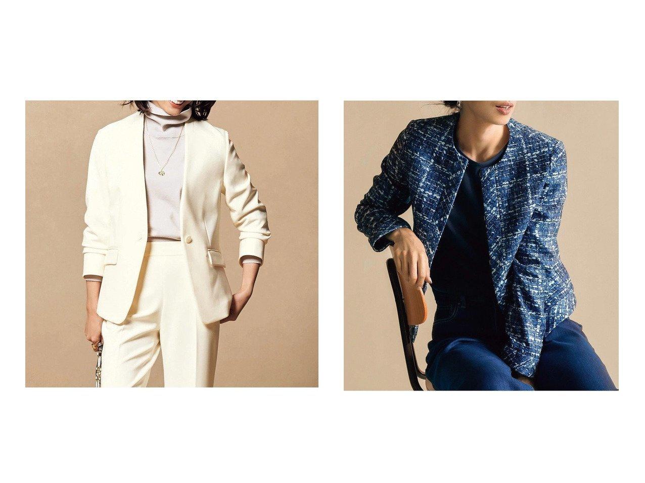 【DoCLASSE/ドゥクラッセ】のななこ織・トリムジャケット&プレミアム二重織・ノーカラージャケット ドゥクラッセの40代、50代の方におすすめ!人気トレンド・ファッションの通販 おすすめで人気の流行・トレンド、ファッションの通販商品 メンズファッション・キッズファッション・インテリア・家具・レディースファッション・服の通販 founy(ファニー) https://founy.com/ ファッション Fashion レディースファッション WOMEN アウター Coat Outerwear ジャケット Jackets ノーカラージャケット No Collar Leather Jackets なめらか カッティング コンパクト ジャケット ストレッチ フォルム プレミアム ワイド ツイード プリント リアル |ID:crp329100000021633