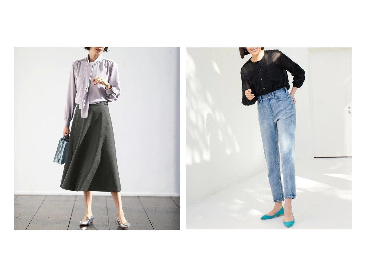 【DoCLASSE/ドゥクラッセ】のストレッチツイル・ミディフレアスカート&甘撚りエアーデニム・テーパード ドゥクラッセの40代、50代の方におすすめ!人気トレンド・ファッションの通販 おすすめで人気の流行・トレンド、ファッションの通販商品 メンズファッション・キッズファッション・インテリア・家具・レディースファッション・服の通販 founy(ファニー) https://founy.com/ ファッション Fashion レディースファッション WOMEN スカート Skirt Aライン/フレアスカート Flared A-Line Skirts くるぶし テーパード パターン ストレッチ フレア 楽ちん |ID:crp329100000021638