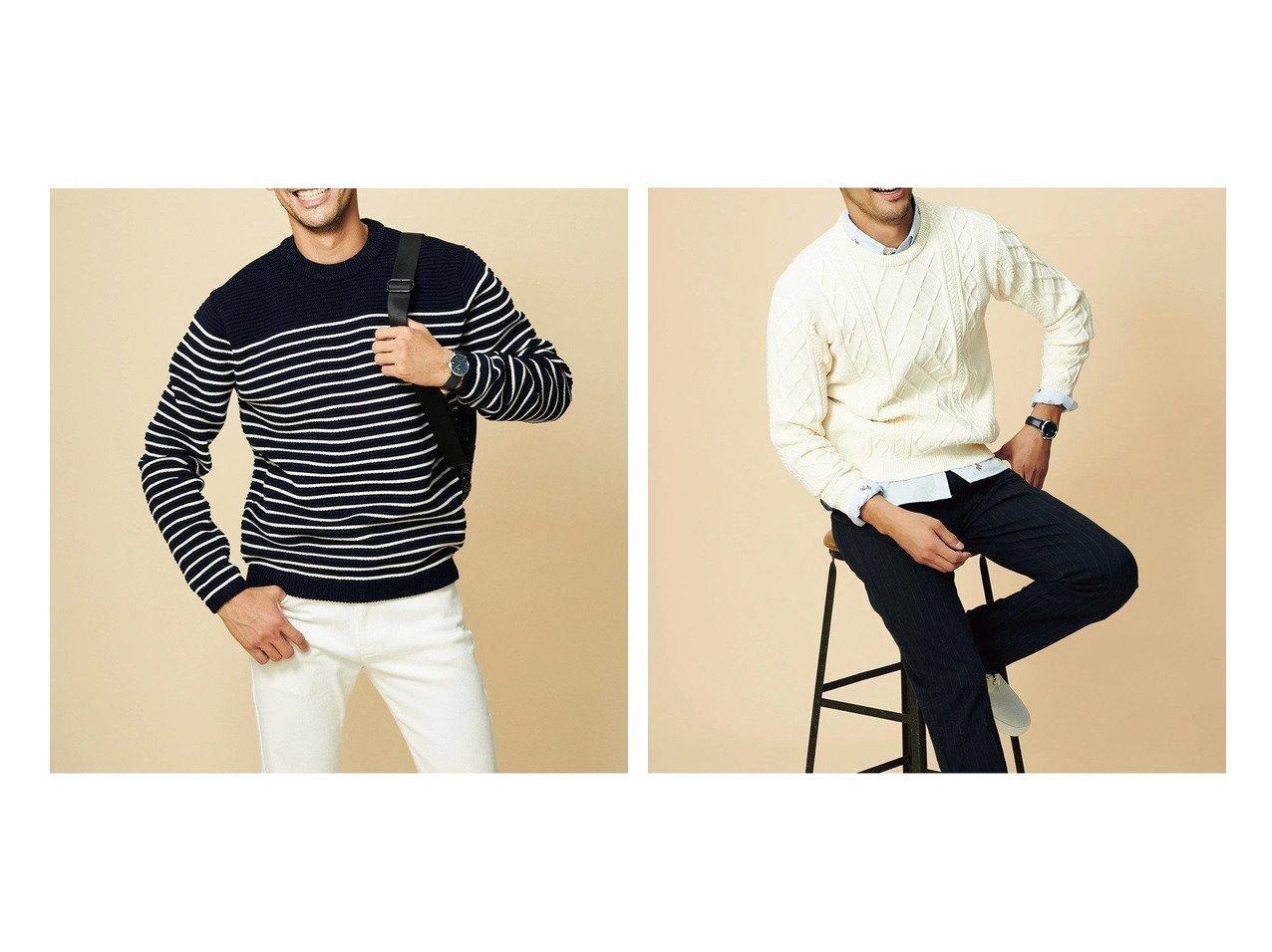 【DoCLASSE / MEN/ドゥクラッセ】のボーダークルーニット&ケーブル編クルーニット 【MEN】ドゥクラッセの40代、50代の男性におすすめ!人気トレンド・メンズファッションの通販 おすすめで人気の流行・トレンド、ファッションの通販商品 メンズファッション・キッズファッション・インテリア・家具・レディースファッション・服の通販 founy(ファニー) https://founy.com/ ファッション Fashion メンズファッション MEN 洗える 軽量 |ID:crp329100000021654