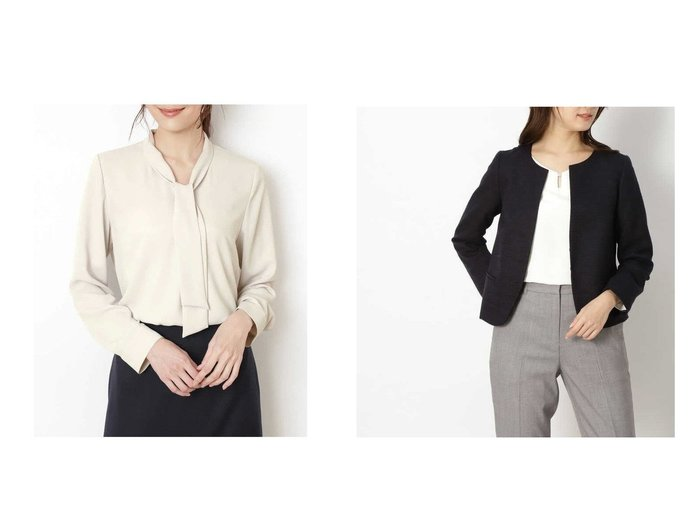 【NATURAL BEAUTY BASIC/ナチュラル ビューティー ベーシック】の洗える ボウタイブラウス&ラメボーダーツイードセットアップ ナチュラル ビューティー ベーシックのおすすめ!人気、トレンド・レディースファッションの通販 おすすめファッション通販アイテム レディースファッション・服の通販 founy(ファニー) ファッション Fashion レディースファッション WOMEN トップス カットソー Tops Tshirt シャツ/ブラウス Shirts Blouses セットアップ Setup おすすめ Recommend ウォッシャブル ジャケット 洗える セットアップ ツイード  ID:crp329100000021698