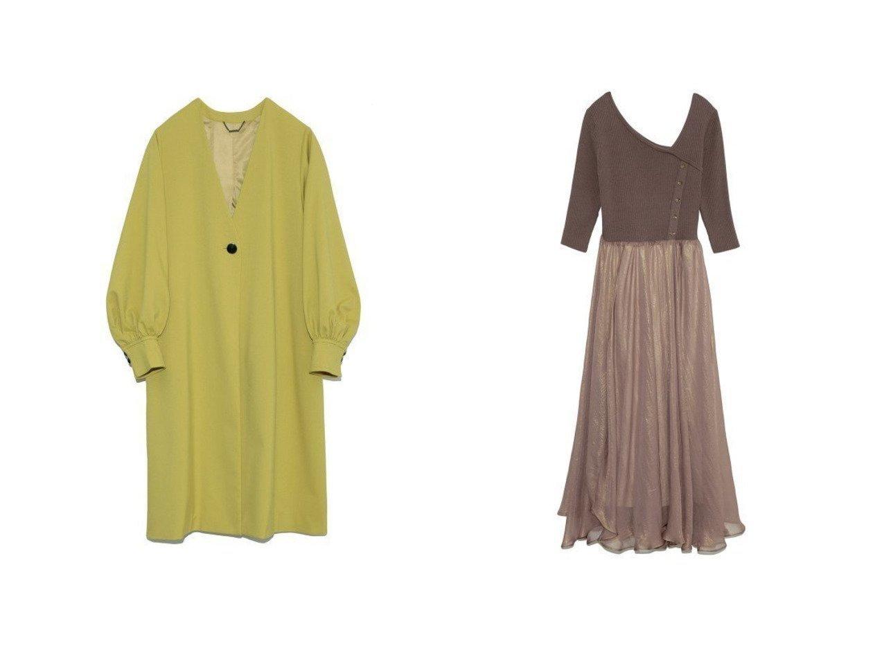 【Lily Brown/リリーブラウン】のボリュームスリーブAラインコート&ニット布帛ドッキングワンピース リリーブラウンのおすすめ!人気、トレンド・レディースファッションの通販 おすすめで人気の流行・トレンド、ファッションの通販商品 メンズファッション・キッズファッション・インテリア・家具・レディースファッション・服の通販 founy(ファニー) https://founy.com/ ファッション Fashion レディースファッション WOMEN アウター Coat Outerwear コート Coats ジャケット Jackets ノーカラージャケット No Collar Leather Jackets Aラインコート A-Line Coats ワンピース Dress イエロー クラシカル ジャケット スマート スリーブ バルーン フロント ベーシック ロング 再入荷 Restock/Back in Stock/Re Arrival |ID:crp329100000022012