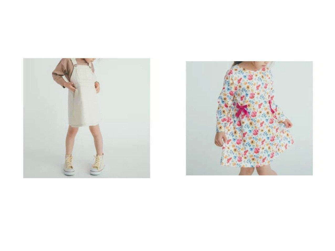 【green label relaxing / UNITED ARROWS / KIDS/グリーンレーベルリラクシング】の【キッズ】ツイルフレアジャンパースカート オフホワイト&ポンチ花柄プリントワンピース 【KIDS】子供服のおすすめ!人気トレンド・キッズファッションの通販  おすすめで人気の流行・トレンド、ファッションの通販商品 メンズファッション・キッズファッション・インテリア・家具・レディースファッション・服の通販 founy(ファニー) https://founy.com/ ファッション Fashion キッズファッション KIDS ワンピース Dress Kids インナー ツイル フレア ロング シューズ プリント リボン  ID:crp329100000022318