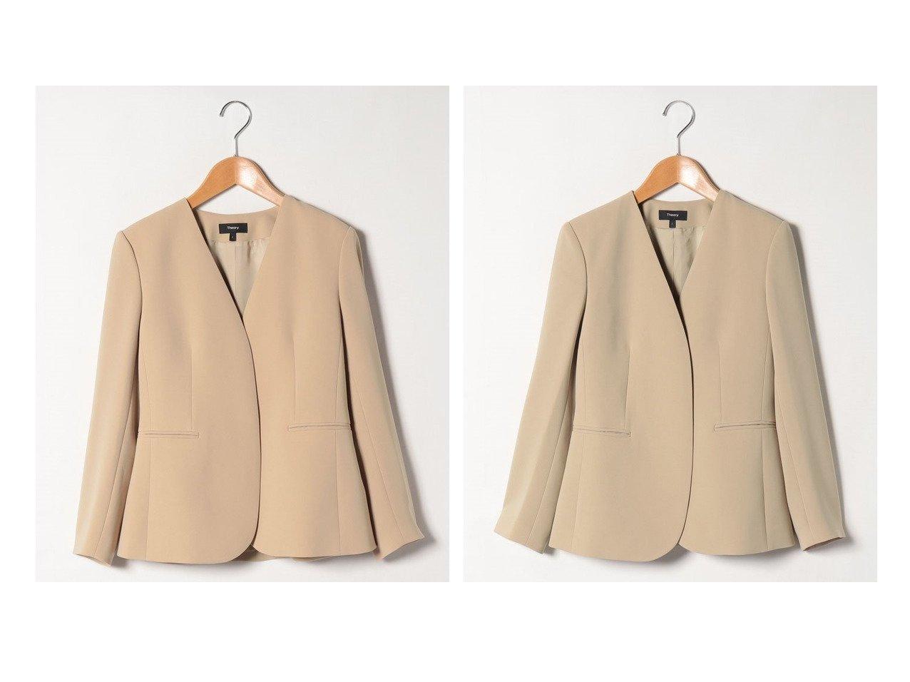 【theory/セオリー】の【セットアップ対応商品】ジャケット CLASSIC CREPE LINDRAYIA B アウターのおすすめ!人気、トレンド・レディースファッションの通販 おすすめで人気の流行・トレンド、ファッションの通販商品 メンズファッション・キッズファッション・インテリア・家具・レディースファッション・服の通販 founy(ファニー) https://founy.com/ ファッション Fashion レディースファッション WOMEN アウター Coat Outerwear ジャケット Jackets ノーカラージャケット No Collar Leather Jackets NEW・新作・新着・新入荷 New Arrivals ジャケット スリーブ セットアップ ファブリック フィット フェミニン ブレスレット 吸水 |ID:crp329100000022678
