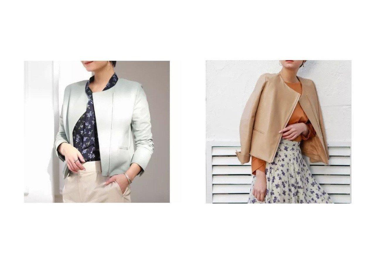 【TRUE NAVY/トゥルー ネイビー】のラムレザー ノーカラージャケット アウターのおすすめ!人気、トレンド・レディースファッションの通販 おすすめで人気の流行・トレンド、ファッションの通販商品 メンズファッション・キッズファッション・インテリア・家具・レディースファッション・服の通販 founy(ファニー) https://founy.com/ ファッション Fashion レディースファッション WOMEN アウター Coat Outerwear ジャケット Jackets ノーカラージャケット No Collar Leather Jackets 春 Spring コンパクト シンプル ジャケット フィット S/S 春夏 SS Spring/Summer おすすめ Recommend  ID:crp329100000022708