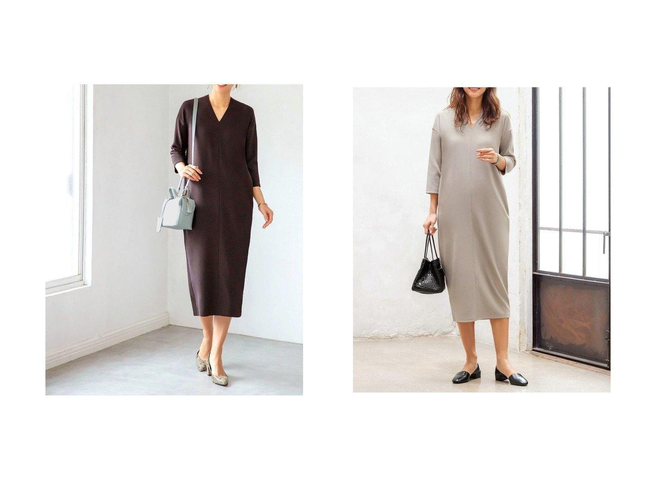 【STYLE DELI/スタイルデリ】の7分袖ライトリラックスVネックワンピース ワンピース・ドレスのおすすめ!人気、トレンド・レディースファッションの通販  おすすめで人気の流行・トレンド、ファッションの通販商品 メンズファッション・キッズファッション・インテリア・家具・レディースファッション・服の通販 founy(ファニー) https://founy.com/ ファッション Fashion レディースファッション WOMEN ワンピース Dress インナー 春 Spring 秋 Autumn/Fall カットソー ショルダー ストレッチ スニーカー ドロップ 人気 フォルム ベーシック ペチコート ポケット ミモレ リラックス |ID:crp329100000022743