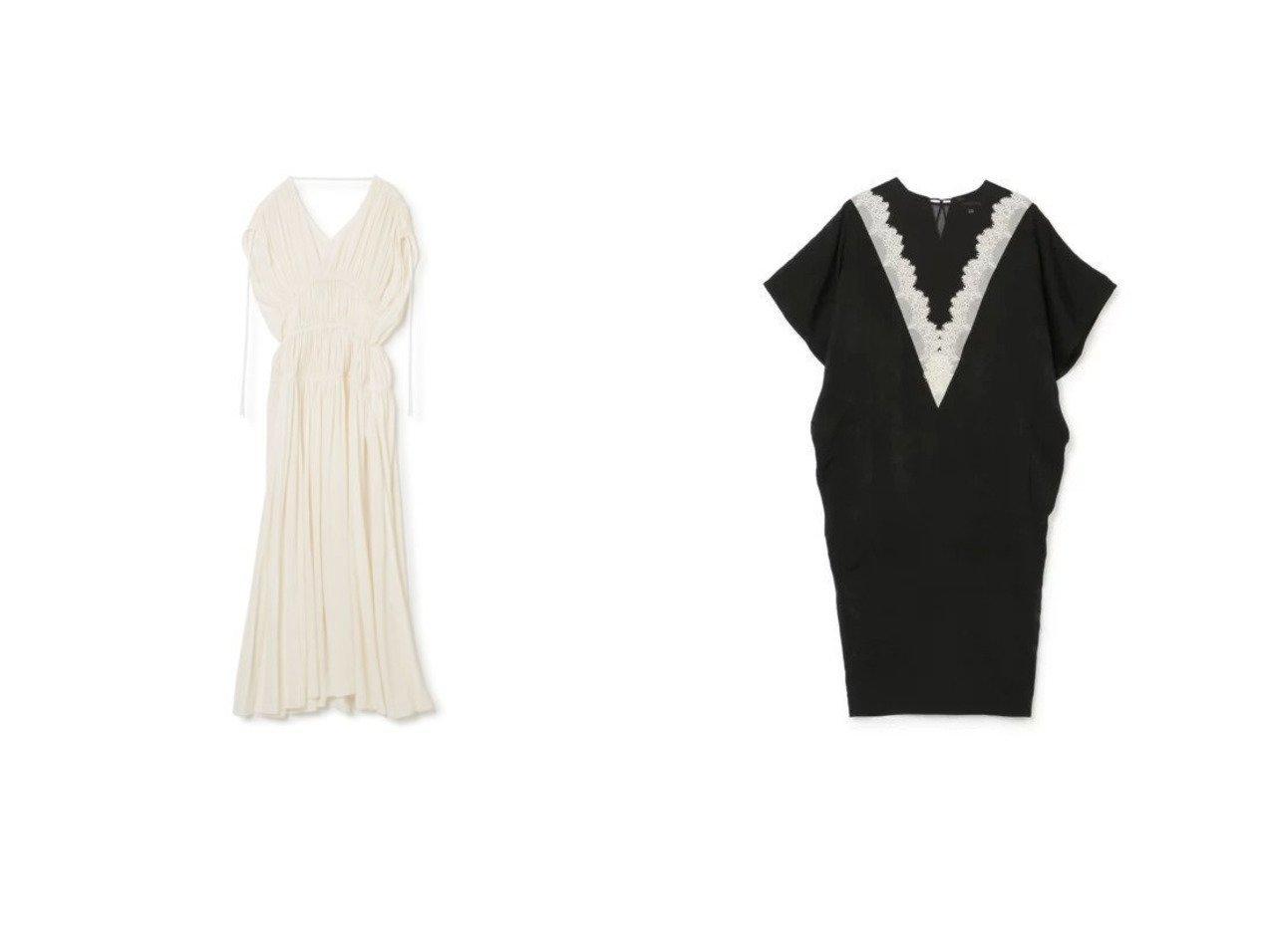 【LOKITHO/ロキト】のGATHERED DRAPE DRESS&LACED VNECK DRESS ワンピース・ドレスのおすすめ!人気、トレンド・レディースファッションの通販  おすすめで人気の流行・トレンド、ファッションの通販商品 メンズファッション・キッズファッション・インテリア・家具・レディースファッション・服の通販 founy(ファニー) https://founy.com/ ファッション Fashion レディースファッション WOMEN ワンピース Dress ドレス Party Dresses 2021年 2021 2021 春夏 S/S SS Spring/Summer 2021 S/S 春夏 SS Spring/Summer エレガント ギャザー ドレス ドレープ ノースリーブ フォーマル ラップ ロング クラシック シアー モダン ラグジュアリー レース 半袖 |ID:crp329100000022762