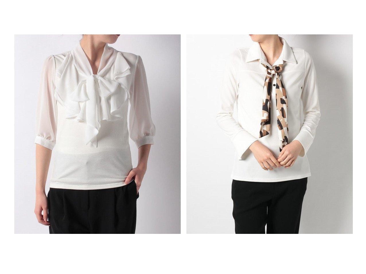 【salire/サリア】のフリルシフォンリボンタイトップス&幾何学柄タイ付シャツ トップス・カットソーのおすすめ!人気、トレンド・レディースファッションの通販 おすすめで人気の流行・トレンド、ファッションの通販商品 メンズファッション・キッズファッション・インテリア・家具・レディースファッション・服の通販 founy(ファニー) https://founy.com/ ファッション Fashion レディースファッション WOMEN トップス カットソー Tops Tshirt シャツ/ブラウス Shirts Blouses NEW・新作・新着・新入荷 New Arrivals カットソー フロント リボン インナー エレガント ジャケット スカーフ  ID:crp329100000022962