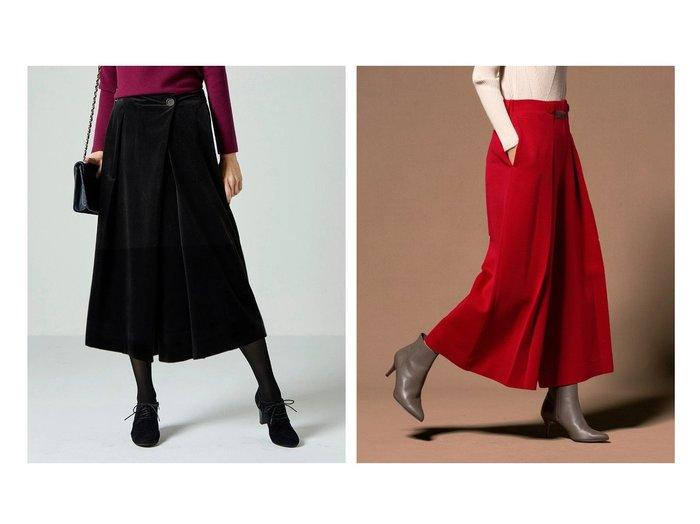 【DoCLASSE/ドゥクラッセ】のベルベット調・スカートライクパンツ&ウール混ポンチ・タックワイドパンツ 40代、50代の女性におすすめ!人気トレンド・ファッションの通販 おすすめファッション通販アイテム レディースファッション・服の通販 founy(ファニー) ファッション Fashion レディースファッション WOMEN スカート Skirt パンツ Pants ベルベット ラップ カモフラージュ プリーツ ベロア ワイド |ID:crp329100000023056