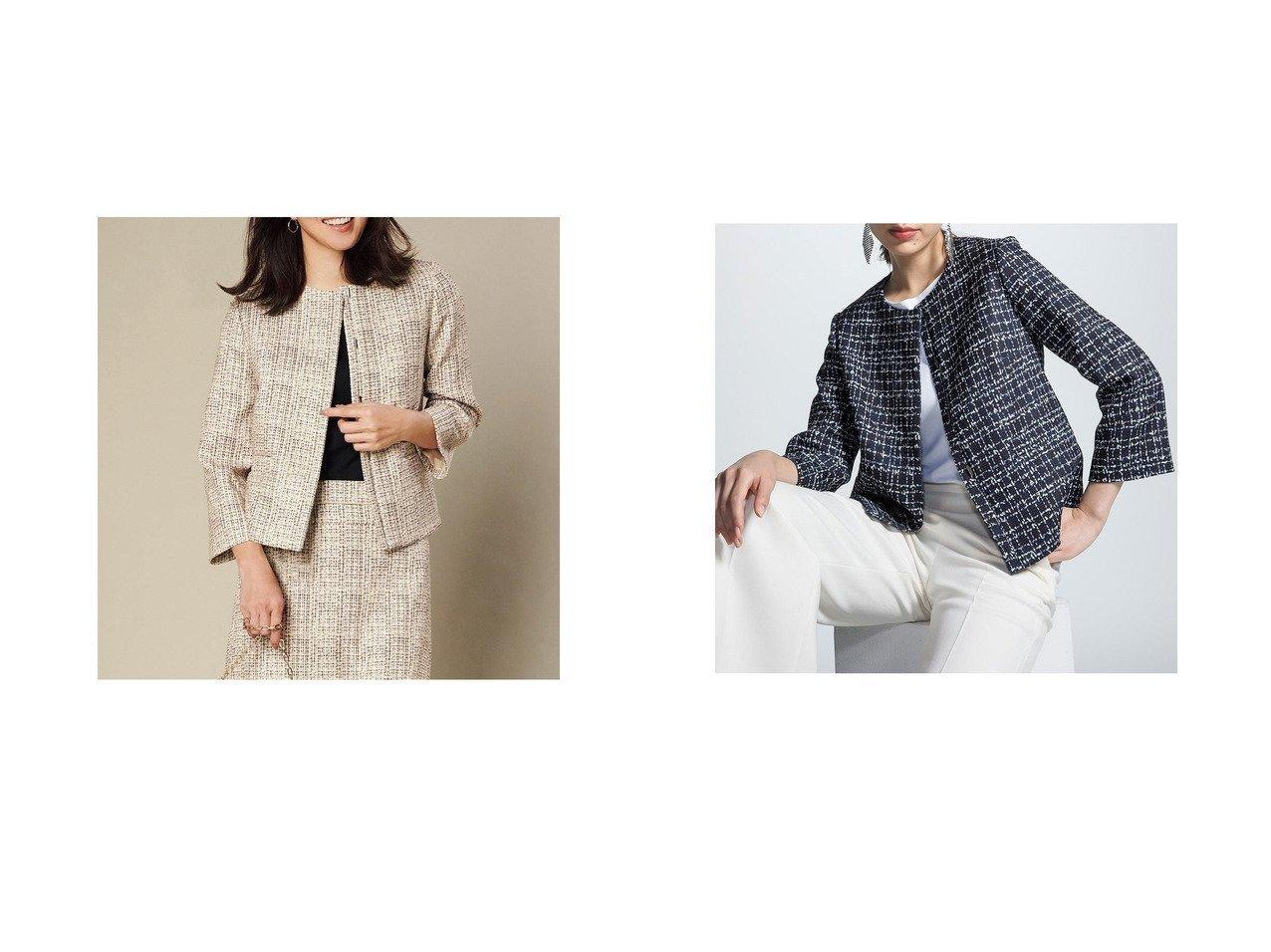 【DoCLASSE/ドゥクラッセ】のななこ織 ノーカラージャケット アウターのおすすめ!人気、トレンド・レディースファッションの通販 おすすめで人気の流行・トレンド、ファッションの通販商品 メンズファッション・キッズファッション・インテリア・家具・レディースファッション・服の通販 founy(ファニー) https://founy.com/ ファッション Fashion レディースファッション WOMEN アウター Coat Outerwear ジャケット Jackets ノーカラージャケット No Collar Leather Jackets 2020年 2020 2020 春夏 S/S SS Spring/Summer 2020 S/S 春夏 SS Spring/Summer カッティング シンプル ジャケット ツイード プリント リアル 春 Spring  ID:crp329100000023596