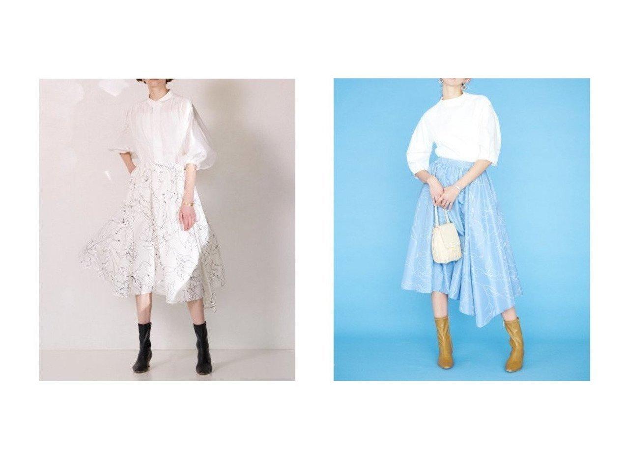 【CELFORD/セルフォード】のラインフラワ-プリントスカート スカートのおすすめ!人気、トレンド・レディースファッションの通販 おすすめで人気の流行・トレンド、ファッションの通販商品 メンズファッション・キッズファッション・インテリア・家具・レディースファッション・服の通販 founy(ファニー) https://founy.com/ ファッション Fashion レディースファッション WOMEN スカート Skirt イレギュラーヘム クラシカル シンプル スマート タフタ フィット フレア プリント 再入荷 Restock/Back in Stock/Re Arrival |ID:crp329100000023874