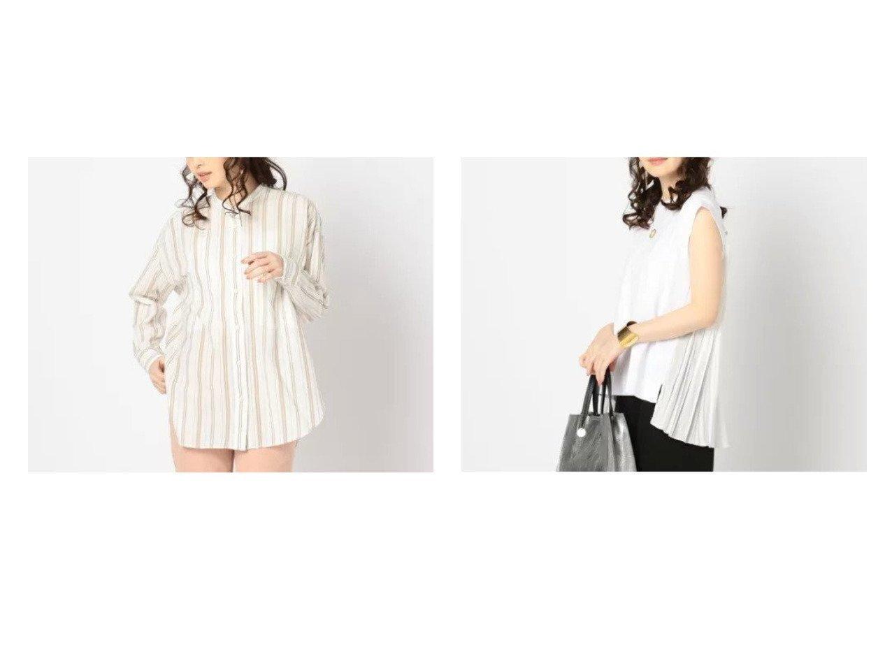 【NOLLEY'S/ノーリーズ】の【ヤヌーク】Band coller stripesシャツ&【アダワス】PLEATS T トップス・カットソーのおすすめ!人気、トレンド・レディースファッションの通販 おすすめで人気の流行・トレンド、ファッションの通販商品 メンズファッション・キッズファッション・インテリア・家具・レディースファッション・服の通販 founy(ファニー) https://founy.com/ ファッション Fashion レディースファッション WOMEN トップス カットソー Tops Tshirt シャツ/ブラウス Shirts Blouses キャミソール / ノースリーブ No Sleeves ロング / Tシャツ T-Shirts カットソー Cut and Sewn コンパクト スキニー ストライプ ストレート スリット スリム デニム 長袖 フィット ベーシック ボーイズ ワーク インド カットソー コレクション 今季 シンプル なめらか ノースリーブ プリーツ プレミアム ヘムライン ボトム  ID:crp329100000024198