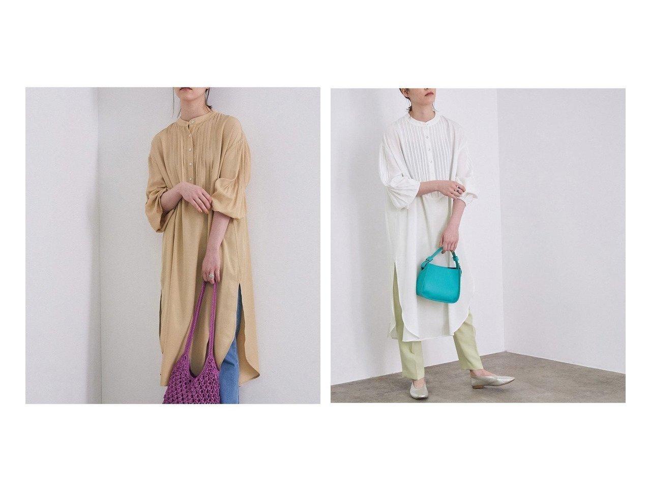 【ROPE' mademoiselle/ロペ マドモアゼル】の【WEB限定】ピンタックチュニックブラウス 別注・限定・コラボなど、おすすめ!人気トレンド・レディースファッション通販 おすすめで人気の流行・トレンド、ファッションの通販商品 メンズファッション・キッズファッション・インテリア・家具・レディースファッション・服の通販 founy(ファニー) https://founy.com/ ファッション Fashion レディースファッション WOMEN トップス カットソー Tops Tshirt シャツ/ブラウス Shirts Blouses スタンド スリット とろみ チュニック トレンド ドレス 定番 Standard ポケット リラックス NEW・新作・新着・新入荷 New Arrivals |ID:crp329100000024316