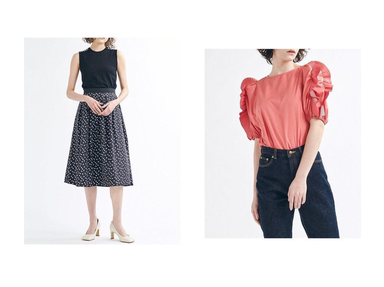 【LANVIN en Bleu/ランバン オン ブルー】のプリーツフリルブラウス&パールショルダーノースリーブニット トップス・カットソーのおすすめ!人気、トレンド・レディースファッションの通販 おすすめで人気の流行・トレンド、ファッションの通販商品 メンズファッション・キッズファッション・インテリア・家具・レディースファッション・服の通販 founy(ファニー) https://founy.com/ ファッション Fashion レディースファッション WOMEN トップス カットソー Tops Tshirt シャツ/ブラウス Shirts Blouses ニット Knit Tops キャミソール / ノースリーブ No Sleeves プルオーバー Pullover 2021年 2021 2021 春夏 S/S SS Spring/Summer 2021 S/S 春夏 SS Spring/Summer おすすめ Recommend コンシャス ショート スリーブ タフタ フリル プリーツ ベーシック 春 Spring インナー クール コンパクト ショルダー ジャケット ノースリーブ パール フォルム ラウンド |ID:crp329100000024827