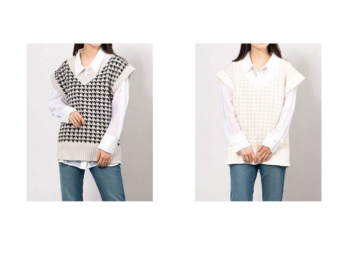 【ENVYM/アンビー】のハウンドトゥースKnit Vest トップス・カットソーのおすすめ!人気、トレンド・レディースファッションの通販 おすすめファッション通販アイテム インテリア・キッズ・メンズ・レディースファッション・服の通販 founy(ファニー) https://founy.com/ ファッション Fashion レディースファッション WOMEN アウター Coat Outerwear トップス カットソー Tops Tshirt ニット Knit Tops ベスト/ジレ Gilets Vests シンプル ハウンドトゥース ベスト |ID:crp329100000024945