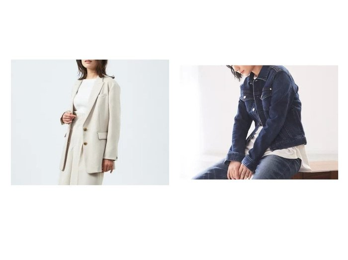 【qualite/カリテ】のラチネボックスジャケット&【HealthyDENIM】Cinnamon デニムジャケット アウターのおすすめ!人気、トレンド・レディースファッションの通販 おすすめファッション通販アイテム レディースファッション・服の通販 founy(ファニー) ファッション Fashion レディースファッション WOMEN アウター Coat Outerwear ジャケット Jackets デニムジャケット Denim Jackets ショート ジャケット セットアップ デニム トレンド ボックス ボトム リラックス 春 Spring S/S 春夏 SS Spring/Summer カットソー コンパクト ストレッチ フォルム ベスト 人気 定番 Standard 雑誌 |ID:crp329100000025063