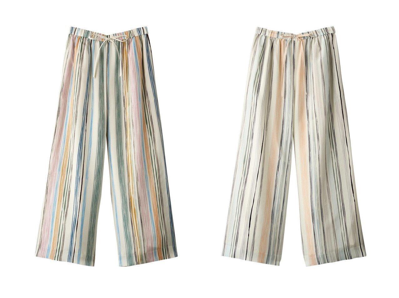 【ebure/エブール】のマルチストライプ ウエストゴムワイドパンツ パンツのおすすめ!人気、トレンド・レディースファッションの通販 おすすめで人気の流行・トレンド、ファッションの通販商品 メンズファッション・キッズファッション・インテリア・家具・レディースファッション・服の通販 founy(ファニー) https://founy.com/ ファッション Fashion レディースファッション WOMEN パンツ Pants 2021年 2021 2021 春夏 S/S SS Spring/Summer 2021 S/S 春夏 SS Spring/Summer シルク ストライプ ワイド 春 Spring  ID:crp329100000025287