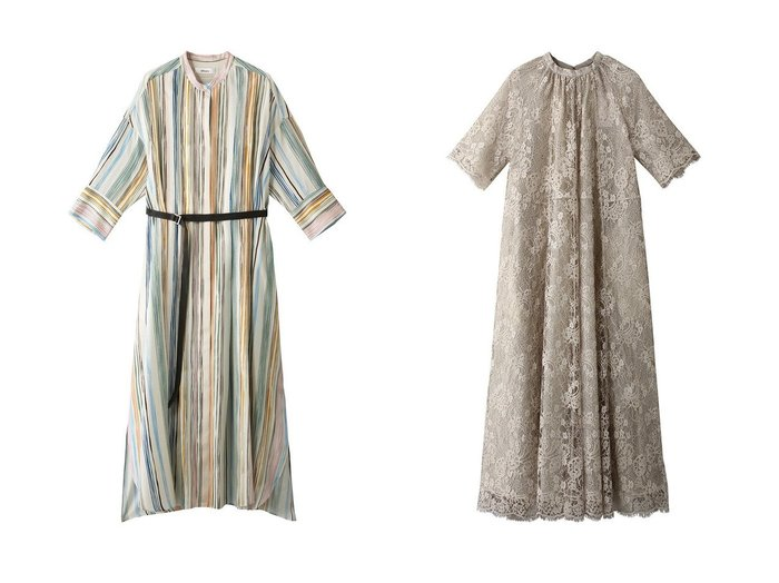 【ebure/エブール】のマルチストライプ ウエストマークワンピース&ブロンズレース バンドカラーワンピース ワンピース・ドレスのおすすめ!人気、トレンド・レディースファッションの通販 おすすめファッション通販アイテム レディースファッション・服の通販 founy(ファニー) ファッション Fashion レディースファッション WOMEN ワンピース Dress 2021年 2021 2021 春夏 S/S SS Spring/Summer 2021 S/S 春夏 SS Spring/Summer シルク ストライプ スリット フロント ロング 春 Spring |ID:crp329100000025354