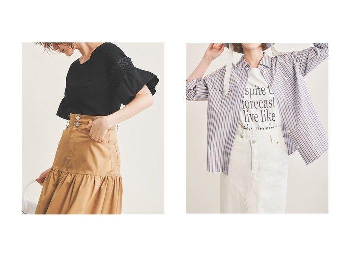 【The Virgnia/ザ ヴァージニア】のシャーリング切替トップス&ドロップショルダーコットンシャツ トップス・カットソーのおすすめ!人気、トレンド・レディースファッションの通販 おすすめファッション通販アイテム レディースファッション・服の通販 founy(ファニー) ファッション Fashion レディースファッション WOMEN トップス カットソー Tops Tshirt シャツ/ブラウス Shirts Blouses ロング / Tシャツ T-Shirts カットソー Cut and Sewn 2021年 2021 2021 春夏 S/S SS Spring/Summer 2021 S/S 春夏 SS Spring/Summer ショルダー ストライプ スリーブ セットアップ ドロップ ミリタリー ラベンダー ロング 春 Spring |ID:crp329100000025360