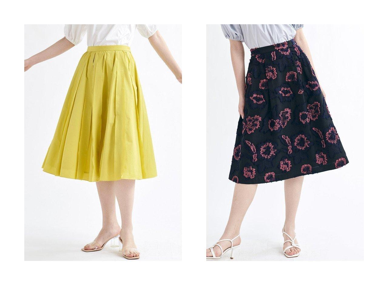 【LANVIN en Bleu/ランバン オン ブルー】のギャザーフレアタックスカート&フラワージャガードスカート 【スカート】おすすめ!人気、トレンド・レディースファッションの通販  おすすめで人気の流行・トレンド、ファッションの通販商品 メンズファッション・キッズファッション・インテリア・家具・レディースファッション・服の通販 founy(ファニー) https://founy.com/ ファッション Fashion レディースファッション WOMEN スカート Skirt ロングスカート Long Skirt 2021年 2021 2021 春夏 S/S SS Spring/Summer 2021 S/S 春夏 SS Spring/Summer エレガント コンパクト シンプル ジャカード バランス フリンジ フレア ロング 春 Spring |ID:crp329100000025505