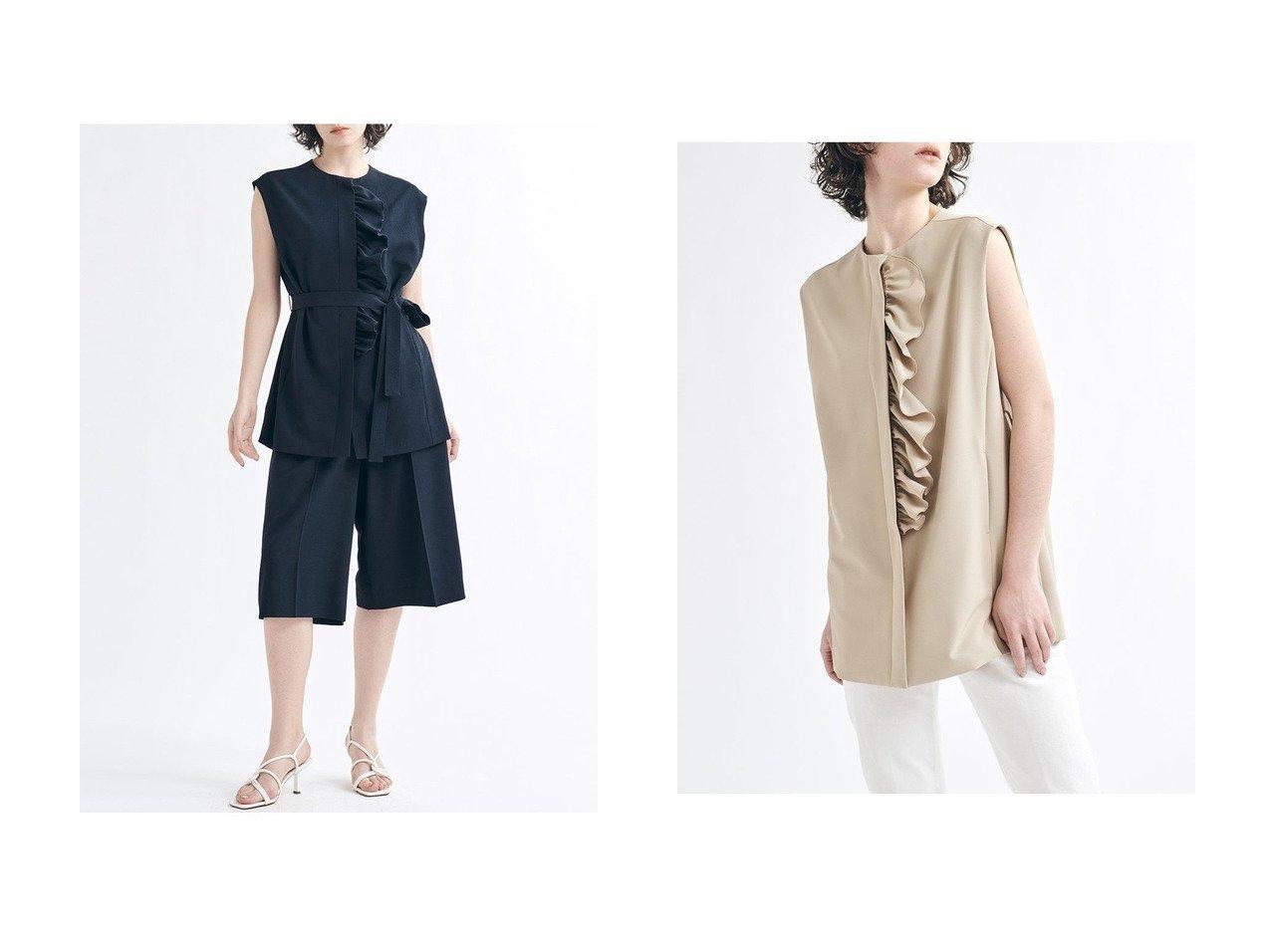 【LANVIN en Bleu/ランバン オン ブルー】のフロントフリルノーカラージャケット 【アウター】おすすめ!人気、トレンド・レディースファッションの通販  おすすめで人気の流行・トレンド、ファッションの通販商品 メンズファッション・キッズファッション・インテリア・家具・レディースファッション・服の通販 founy(ファニー) https://founy.com/ ファッション Fashion レディースファッション WOMEN アウター Coat Outerwear ジャケット Jackets ノーカラージャケット No Collar Leather Jackets 春 Spring ジャケット ストレッチ セットアップ ツイル ノースリーブ バランス フリル ベスト ミドル ワイド 2021年 2021 S/S 春夏 SS Spring/Summer 2021 春夏 S/S SS Spring/Summer 2021 おすすめ Recommend |ID:crp329100000025522