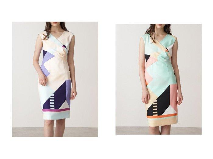 【Pinky&Dianne/ピンキーアンドダイアン】のカラーブロックプリントワンピース 【ワンピース・ドレス】おすすめ!人気、トレンド・レディースファッションの通販  おすすめファッション通販アイテム レディースファッション・服の通販 founy(ファニー) ファッション Fashion レディースファッション WOMEN ワンピース Dress スリム フィット ブロッキング プリント |ID:crp329100000025679