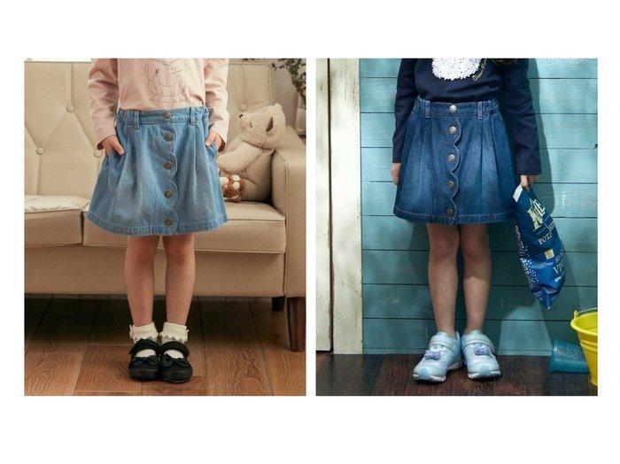 【anyFAM / KIDS/エニファム】のデニム ショート丈スカパン 【KIDS】子供服のおすすめ!人気トレンド・キッズファッションの通販  おすすめファッション通販アイテム レディースファッション・服の通販 founy(ファニー) ファッション Fashion キッズファッション KIDS ボトムス Bottoms/Kids 春 Spring キュロット ショート スカラップ デニム 台形 人気 ハンカチ ポケット S/S・春夏 SS・Spring/Summer 送料無料 Free Shipping NEW・新作・新着・新入荷 New Arrivals |ID:crp329100000025743