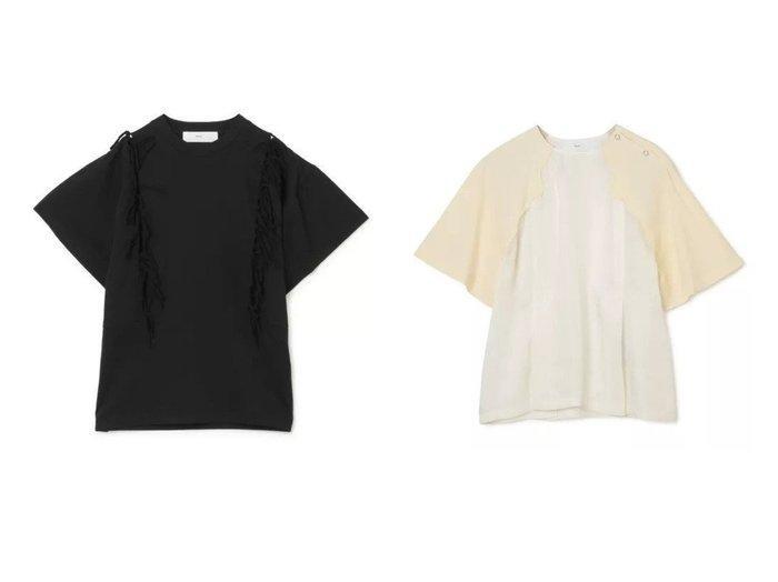 【TOGA PULLA/トーガ プルラ】のFringe jersey T-shirt&Rayon twill western top おすすめ!人気、トレンド・レディースファッションの通販  おすすめ人気トレンドファッション通販アイテム 人気、トレンドファッション・服の通販 founy(ファニー) ファッション Fashion レディースファッション WOMEN トップス・カットソー Tops/Tshirt シャツ/ブラウス Shirts/Blouses ロング / Tシャツ T-Shirts カットソー Cut and Sewn 2021年 2021 2021春夏・S/S SS/Spring/Summer/2021 S/S・春夏 SS・Spring/Summer カットソー ジャージー フォルム フリンジ 半袖 洗える ウエスタン キュプラ コンビ スリーブ |ID:crp329100000026022