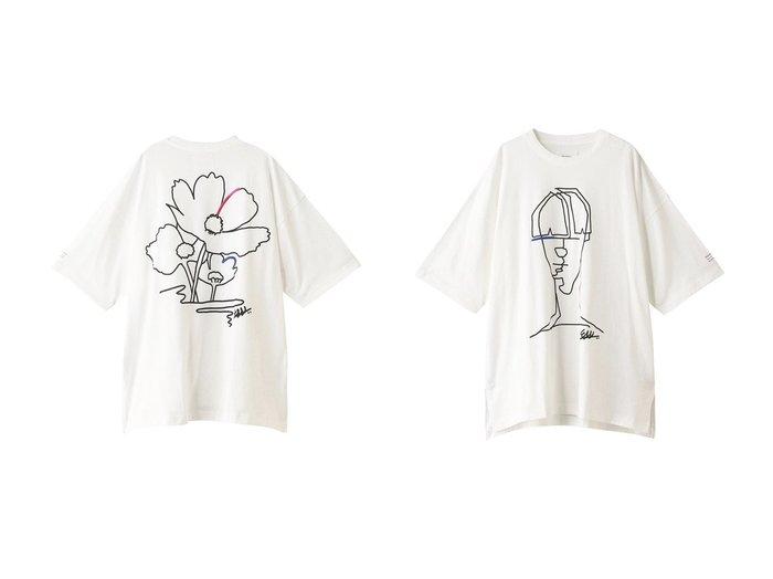 【MIDIUMISOLID/ミディウミソリッド】のドローイングTシャツ フラワー&ドローイングTシャツ ポートレート 【トップス・カットソー】おすすめ!人気、トレンド・レディースファッションの通販   おすすめファッション通販アイテム インテリア・キッズ・メンズ・レディースファッション・服の通販 founy(ファニー) https://founy.com/ ファッション Fashion レディースファッション WOMEN トップス・カットソー Tops/Tshirt シャツ/ブラウス Shirts/Blouses ロング / Tシャツ T-Shirts カットソー Cut and Sewn ショート スリーブ フラワー |ID:crp329100000026653