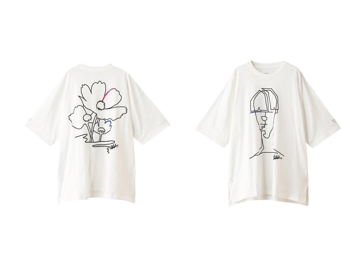【MIDIUMISOLID/ミディウミソリッド】のドローイングTシャツ フラワー&ドローイングTシャツ ポートレート 【トップス・カットソー】おすすめ!人気、トレンド・レディースファッションの通販   おすすめで人気の流行・トレンド、ファッションの通販商品 メンズファッション・キッズファッション・インテリア・家具・レディースファッション・服の通販 founy(ファニー) https://founy.com/ ファッション Fashion レディースファッション WOMEN トップス・カットソー Tops/Tshirt シャツ/ブラウス Shirts/Blouses ロング / Tシャツ T-Shirts カットソー Cut and Sewn ショート スリーブ フラワー |ID:crp329100000026653