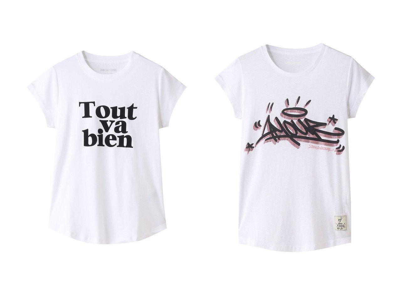【ZADIG & VOLTAIRE/ザディグ エ ヴォルテール】のWOOP TOUT VA BIEN SPI T-SHIRT FLOCK Tシャツ&SKINNY AMOUR JORMI STRASS T-MODAL Tシャツ 【トップス・カットソー】おすすめ!人気、トレンド・レディースファッションの通販   おすすめで人気の流行・トレンド、ファッションの通販商品 メンズファッション・キッズファッション・インテリア・家具・レディースファッション・服の通販 founy(ファニー) https://founy.com/ ファッション Fashion レディースファッション WOMEN トップス・カットソー Tops/Tshirt シャツ/ブラウス Shirts/Blouses ロング / Tシャツ T-Shirts カットソー Cut and Sewn 2021年 2021 2021春夏・S/S SS/Spring/Summer/2021 S/S・春夏 SS・Spring/Summer おすすめ Recommend コンパクト ショート スリーブ フロント ボトム ワイド 今季 春 Spring |ID:crp329100000026666