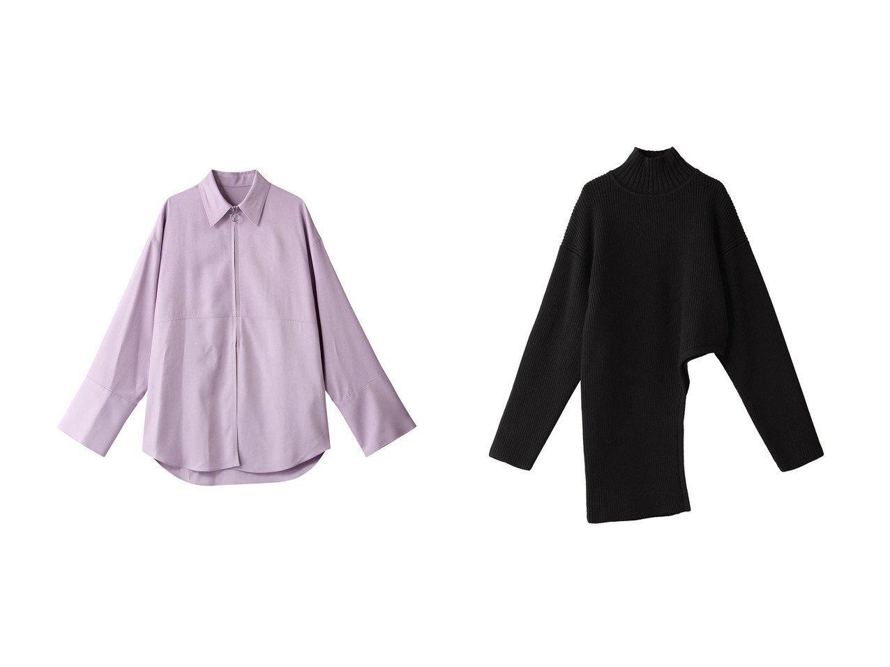 【LE CIEL BLEU/ルシェル ブルー】のジップフロントシャツ&ラウンドカットニット 【トップス・カットソー】おすすめ!人気、トレンド・レディースファッションの通販   おすすめで人気の流行・トレンド、ファッションの通販商品 メンズファッション・キッズファッション・インテリア・家具・レディースファッション・服の通販 founy(ファニー) https://founy.com/ ファッション Fashion レディースファッション WOMEN トップス・カットソー Tops/Tshirt シャツ/ブラウス Shirts/Blouses ニット Knit Tops プルオーバー Pullover 2021年 2021 2021春夏・S/S SS/Spring/Summer/2021 S/S・春夏 SS・Spring/Summer シンプル ジップ スリーブ フロント ロング 春 Spring 羽織 長袖 アシンメトリー ハイネック ラウンド |ID:crp329100000026669