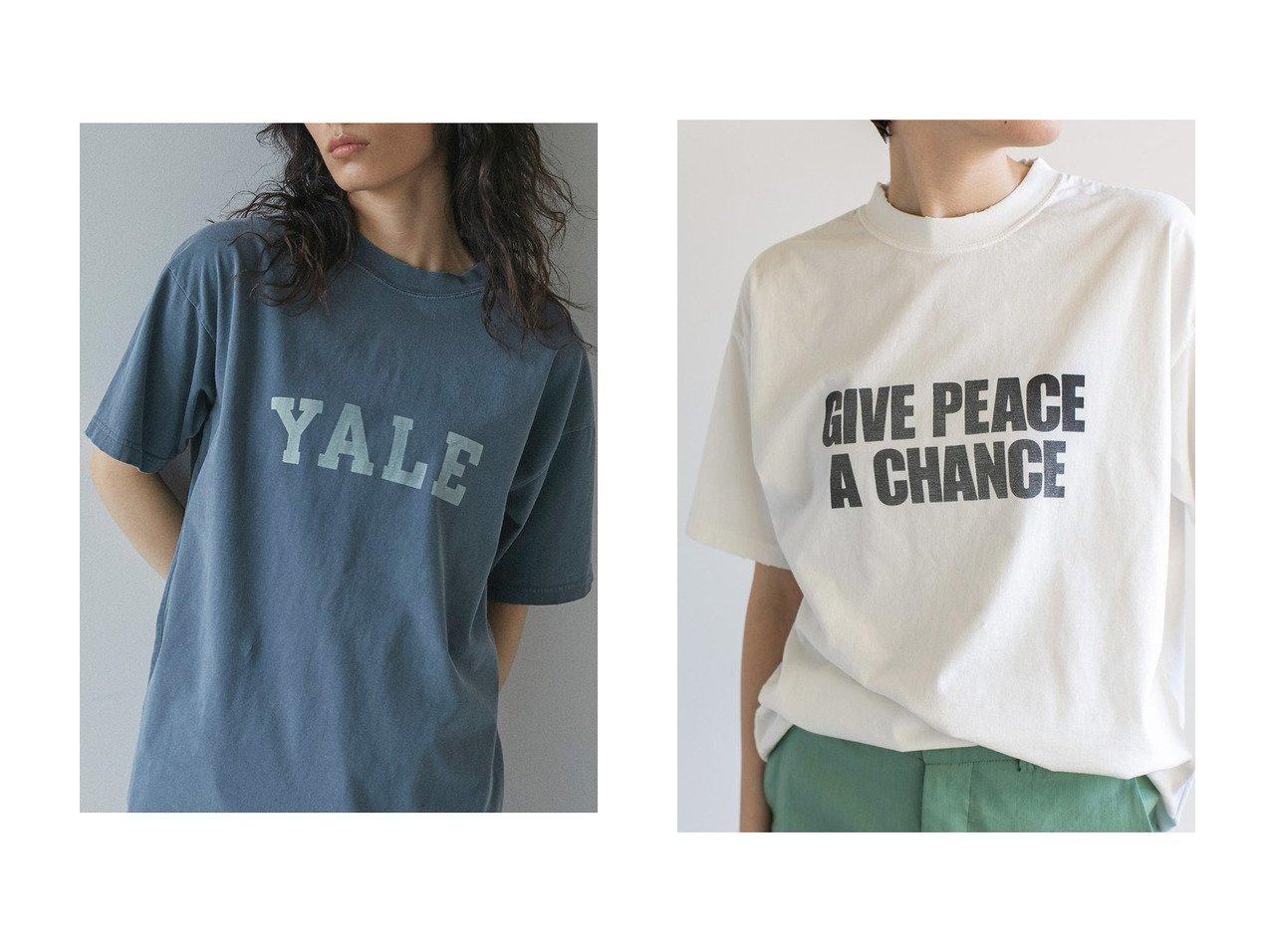 【GALLARDAGALANTE/ガリャルダガランテ】の【R JUBILEE】別注ロゴTシャツ/YALE&【R JUBILEE】別注ロゴTシャツ/GIVE PEACE A CHANGE 【トップス・カットソー】おすすめ!人気、トレンド・レディースファッションの通販   おすすめで人気の流行・トレンド、ファッションの通販商品 メンズファッション・キッズファッション・インテリア・家具・レディースファッション・服の通販 founy(ファニー) https://founy.com/ ファッション Fashion レディースファッション WOMEN トップス・カットソー Tops/Tshirt シャツ/ブラウス Shirts/Blouses ロング / Tシャツ T-Shirts カットソー Cut and Sewn 2021年 2021 2021春夏・S/S SS/Spring/Summer/2021 S/S・春夏 SS・Spring/Summer ショート シンプル スリーブ フロント ワンポイント ヴィンテージ 別注 春 Spring |ID:crp329100000026670