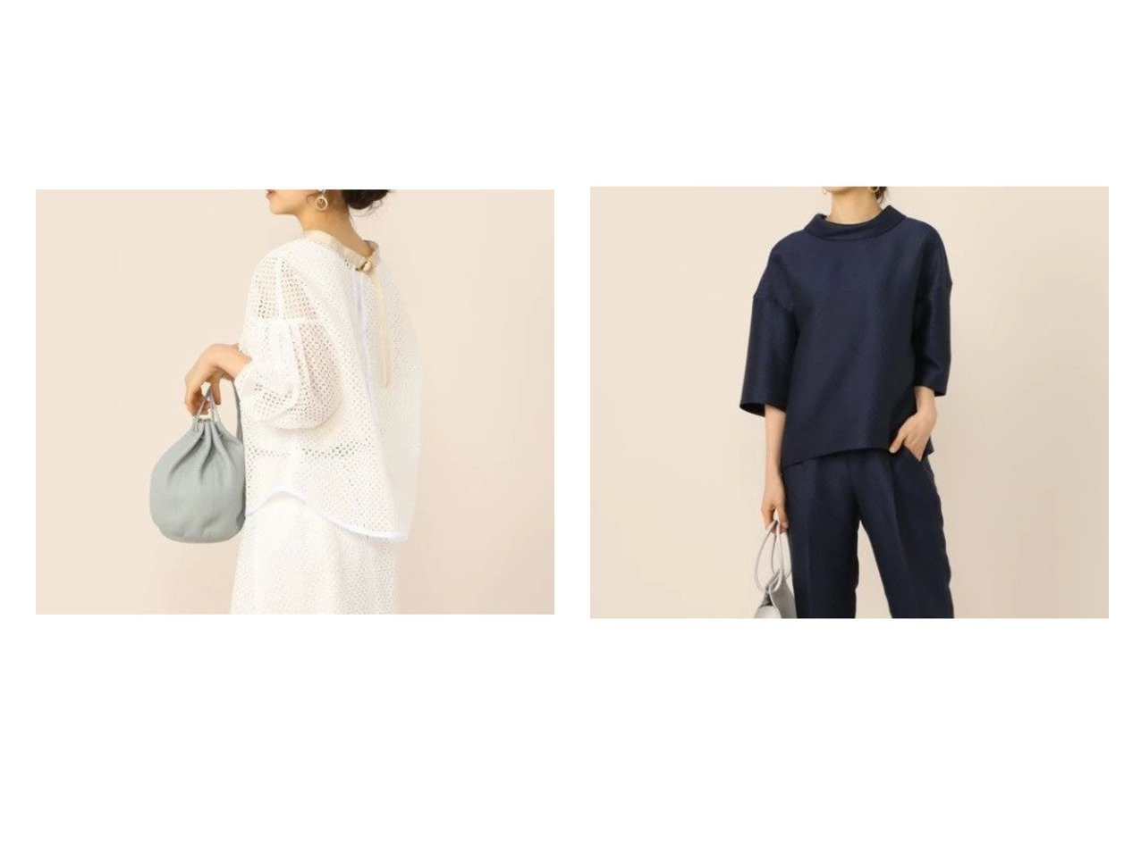 【NOLLEY'S/ノーリーズ】のスクエア刺繍 両前羽織ブラウス&ドットジャガード両前ロールネックプルオーバーブラウス 【トップス・カットソー】おすすめ!人気、トレンド・レディースファッションの通販 | レディースファッション・服の通販 founy(ファニー)