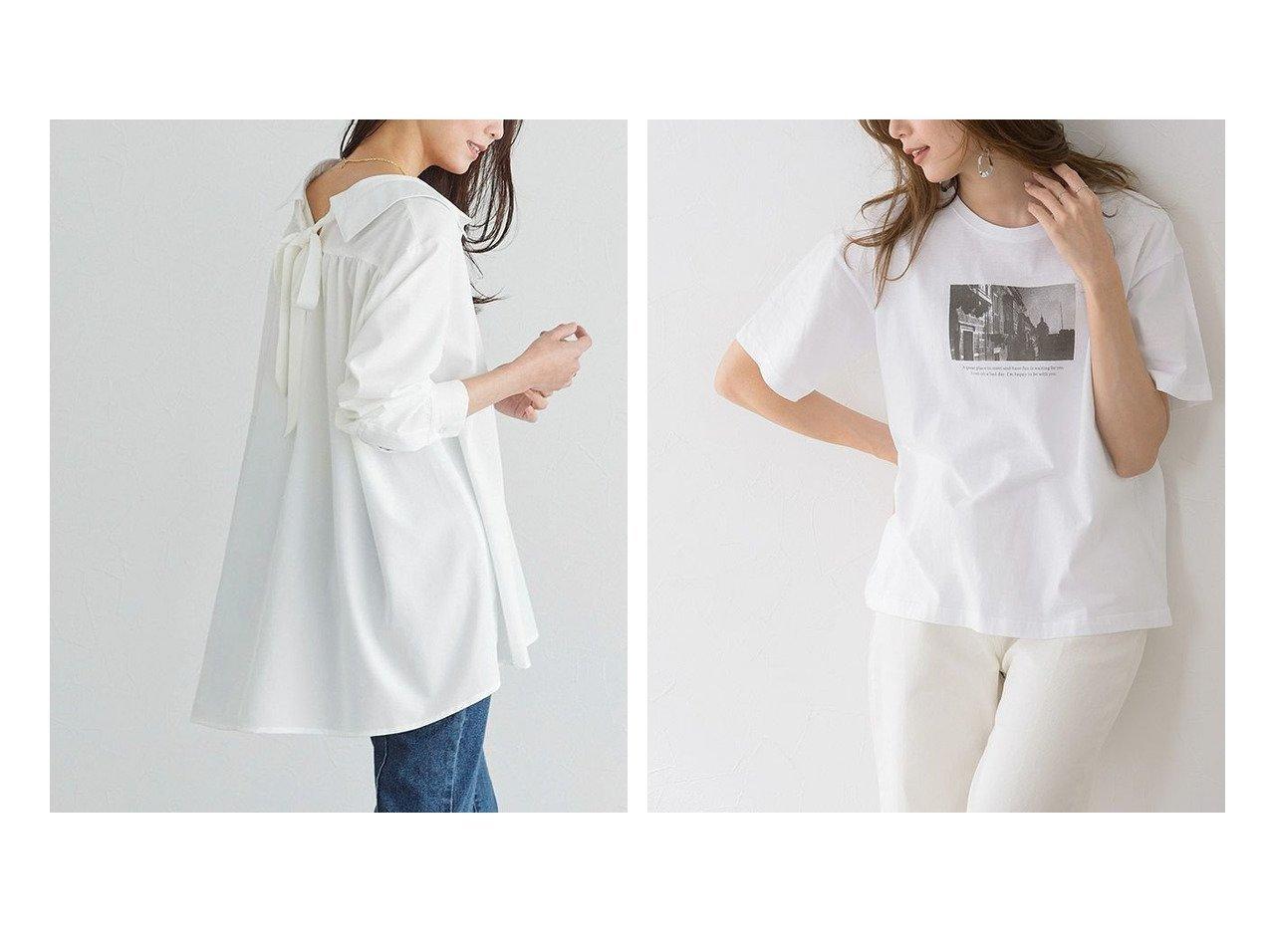 【Pierrot/ピエロ】のバックリボンAラインブラウス&フォトプリントコットンTシャツ 【プチプライス】おすすめ!人気トレンド・ファッション通販 おすすめで人気の流行・トレンド、ファッションの通販商品 メンズファッション・キッズファッション・インテリア・家具・レディースファッション・服の通販 founy(ファニー) https://founy.com/ ファッション Fashion レディースファッション WOMEN トップス・カットソー Tops/Tshirt シャツ/ブラウス Shirts/Blouses ロング / Tシャツ T-Shirts ギャザー フェミニン プチプライス・低価格 Affordable リボン 春 Spring |ID:crp329100000026799