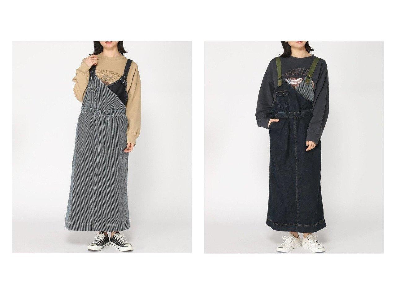 【KRIFF MAYER/クリフメイヤー】のカシュクールサロペットスカート 【スカート】おすすめ!人気、トレンド・レディースファッションの通販   おすすめで人気の流行・トレンド、ファッションの通販商品 メンズファッション・キッズファッション・インテリア・家具・レディースファッション・服の通販 founy(ファニー) https://founy.com/ ファッション Fashion レディースファッション WOMEN スカート Skirt ストライプ ストレート デニム ロング |ID:crp329100000026874