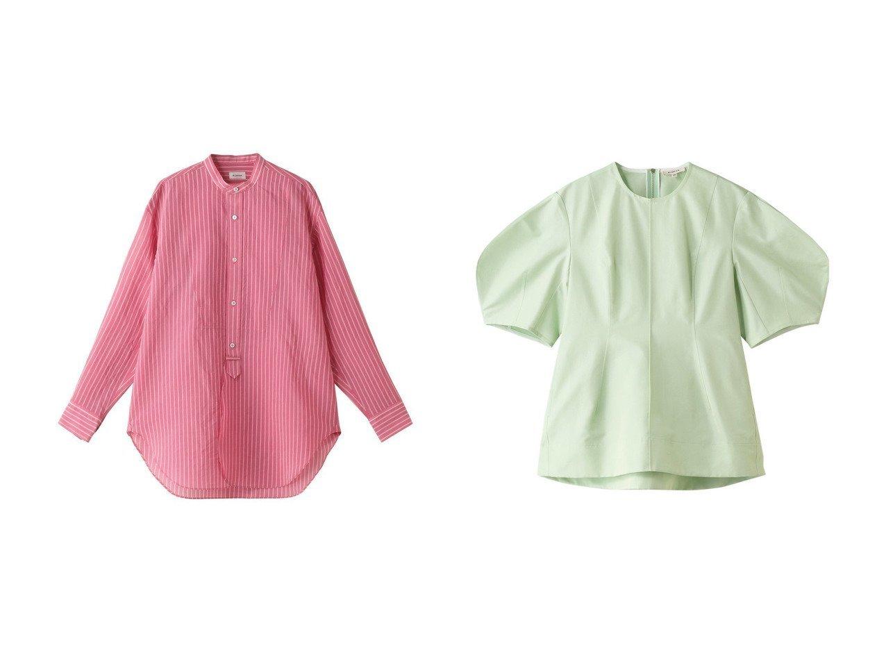 【BLAMINK/ブラミンク】のコットンシルクストライプバンドカラーシャツ&コットンシルクランタンスリーブブラウス 【トップス・カットソー】おすすめ!人気、トレンド・レディースファッションの通販  おすすめで人気の流行・トレンド、ファッションの通販商品 メンズファッション・キッズファッション・インテリア・家具・レディースファッション・服の通販 founy(ファニー) https://founy.com/ ファッション Fashion レディースファッション WOMEN トップス・カットソー Tops/Tshirt シャツ/ブラウス Shirts/Blouses 2021年 2021 2021春夏・S/S SS/Spring/Summer/2021 S/S・春夏 SS・Spring/Summer シェイプ ショート シルク スリーブ パーティ 春 Spring |ID:crp329100000027099