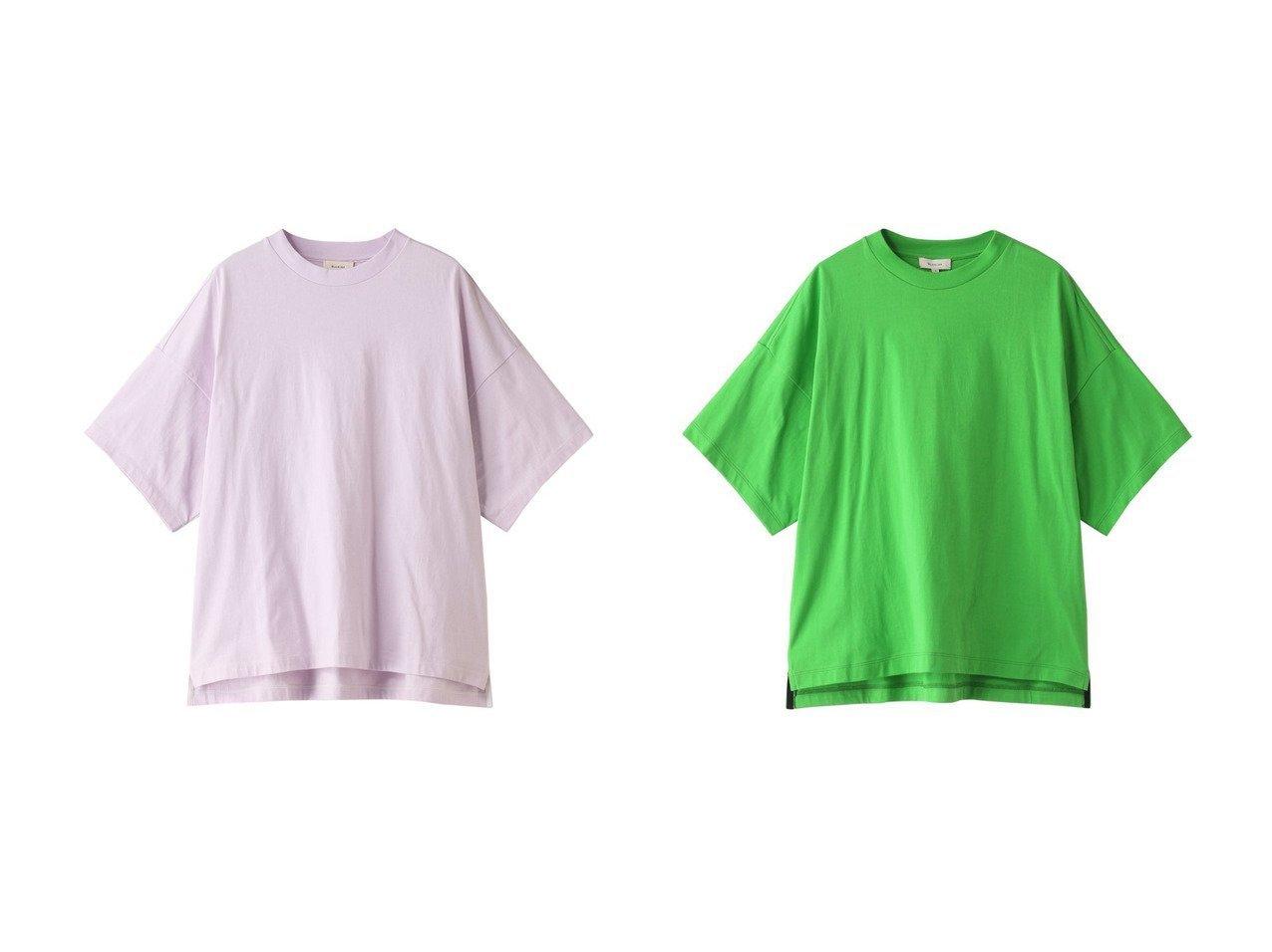 【BLAMINK/ブラミンク】のコットンクルーネックオーバースリーブTシャツ 【トップス・カットソー】おすすめ!人気、トレンド・レディースファッションの通販  おすすめで人気の流行・トレンド、ファッションの通販商品 メンズファッション・キッズファッション・インテリア・家具・レディースファッション・服の通販 founy(ファニー) https://founy.com/ ファッション Fashion レディースファッション WOMEN トップス・カットソー Tops/Tshirt シャツ/ブラウス Shirts/Blouses ロング / Tシャツ T-Shirts カットソー Cut and Sewn 2021年 2021 2021春夏・S/S SS/Spring/Summer/2021 S/S・春夏 SS・Spring/Summer ショート シンプル スリーブ 半袖 春 Spring |ID:crp329100000027101