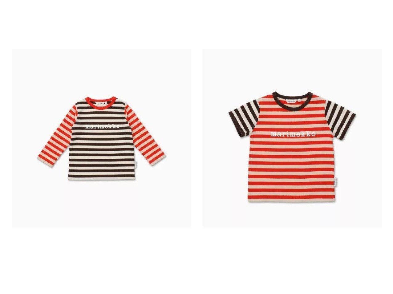 【marimekko / KIDS/マリメッコ】の[Kids]Vede Tasaraita 1 Tシャツ&[Kids]Leuto Tasaraita 1 Tシャツ 【KIDS】子供服のおすすめ!人気トレンド・キッズファッションの通販  おすすめで人気の流行・トレンド、ファッションの通販商品 メンズファッション・キッズファッション・インテリア・家具・レディースファッション・服の通販 founy(ファニー) https://founy.com/ ファッション Fashion キッズファッション KIDS トップス・カットソー Tops/Tees/Kids ジャージー パターン フロント ボーダー クール 長袖  ID:crp329100000027203