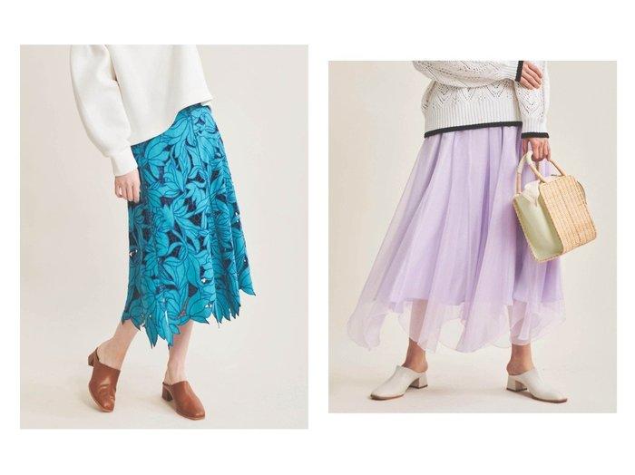 【The Virgnia/ザ ヴァージニア】のラメシアーチュールスカート&レース配色刺繍スカート 【スカート】おすすめ!人気、トレンド・レディースファッションの通販  おすすめファッション通販アイテム レディースファッション・服の通販 founy(ファニー) ファッション Fashion レディースファッション WOMEN スカート Skirt Aライン/フレアスカート Flared A-Line Skirts おすすめ Recommend カットソー フラワー フレア ランダム レース ワーク サテン シアー チュール 春 Spring |ID:crp329100000027319