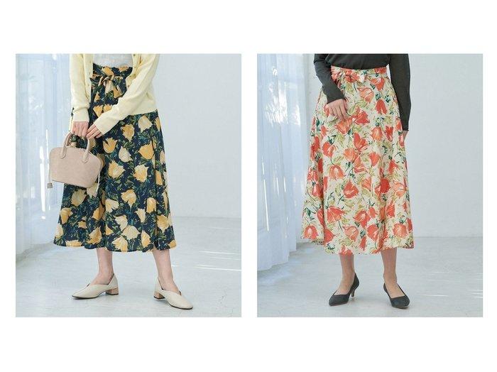【ROPE' PICNIC/ロペピクニック】の【リンクコーデ】BIGフラワーフレアスカート 【スカート】おすすめ!人気、トレンド・レディースファッションの通販  おすすめファッション通販アイテム レディースファッション・服の通販 founy(ファニー) ファッション Fashion レディースファッション WOMEN スカート Skirt Aライン/フレアスカート Flared A-Line Skirts おすすめ Recommend イエロー スカーフ フラワー ポケット ラベンダー リブニット 春 Spring |ID:crp329100000027321