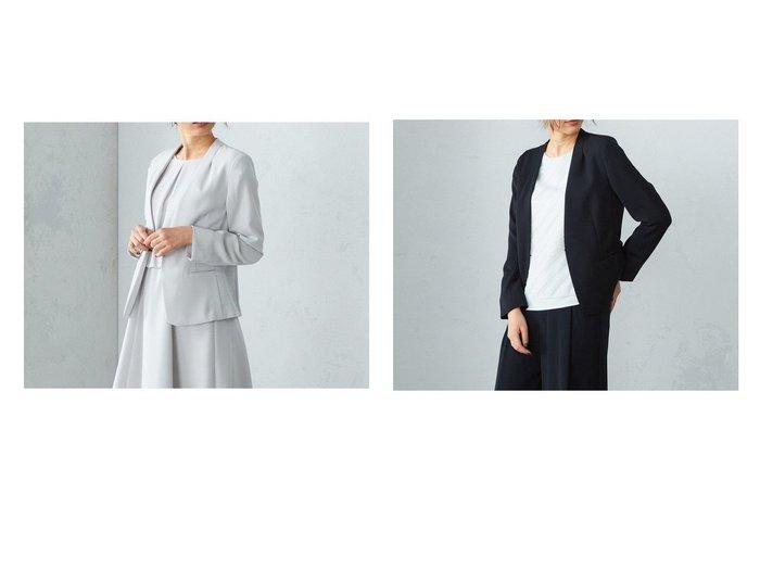 【COMME CA ISM/コムサイズム】の【セットアップ】V開き ノーカラージャケット 【アウター】おすすめ!人気、トレンド・レディースファッションの通販  おすすめファッション通販アイテム インテリア・キッズ・メンズ・レディースファッション・服の通販 founy(ファニー) https://founy.com/ ファッション Fashion レディースファッション WOMEN アウター Coat Outerwear ジャケット Jackets ノーカラージャケット No Collar Leather Jackets スーツ Suits スーツ ジャケット Jacket スーツセット Suit Sets なめらか ジャケット スーツ セットアップ フォーマル |ID:crp329100000027485