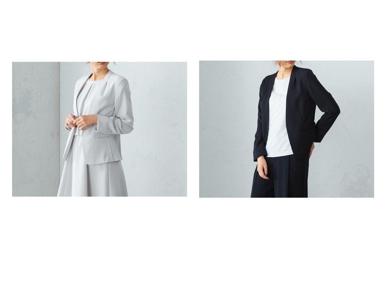 【COMME CA ISM/コムサイズム】の【セットアップ】V開き ノーカラージャケット 【アウター】おすすめ!人気、トレンド・レディースファッションの通販    レディースファッション・服の通販 founy(ファニー)