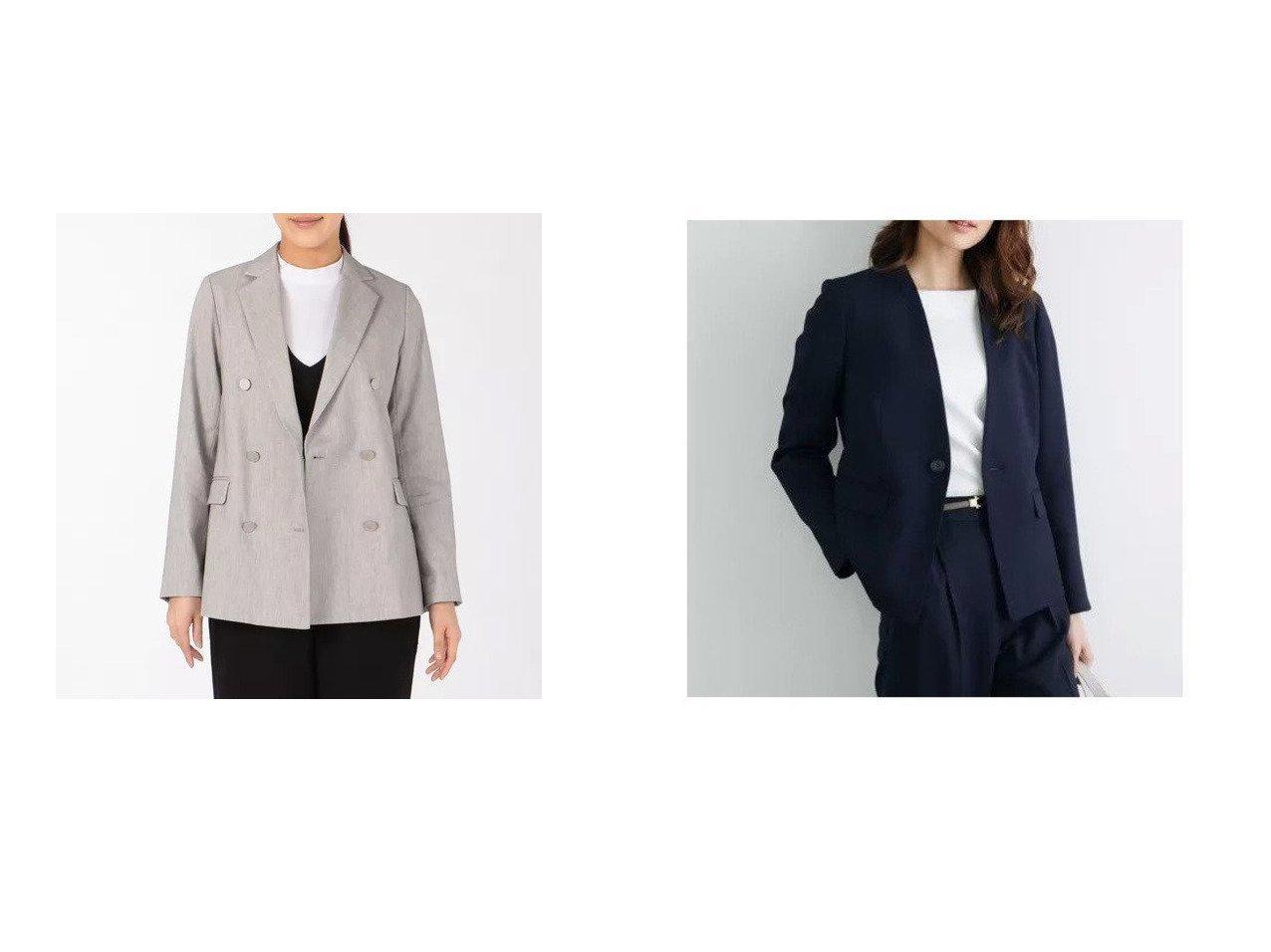 【Munich/ミューニック】のcotton linen pinhead double tailored jacket&【ROPE' PICNIC/ロペピクニック】の【セットアップ対応】【UVカット】リネンライクノーラペルジャケット 【アウター】おすすめ!人気、トレンド・レディースファッションの通販    レディースファッション・服の通販 founy(ファニー)